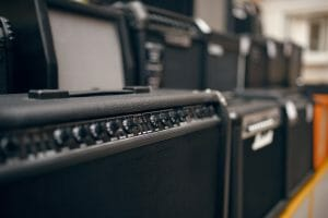 Amplifiers line up in a music store